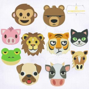 Zoo Animal Faces Embroidery Designs Bundle