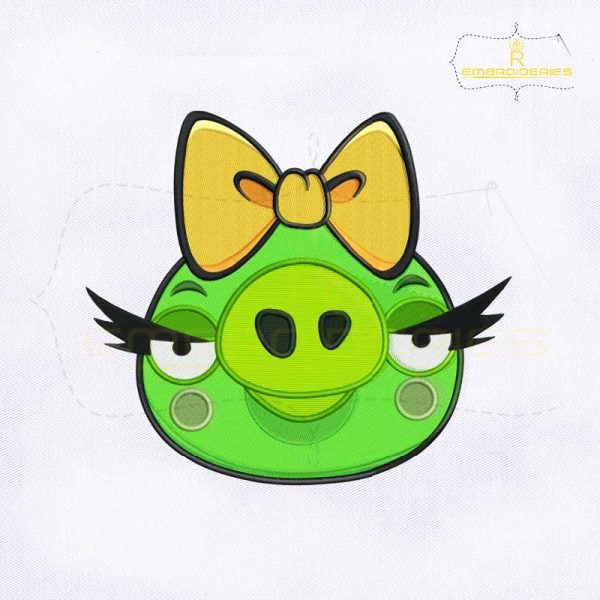 Angry Birds Pig Girl Embroidery Design
