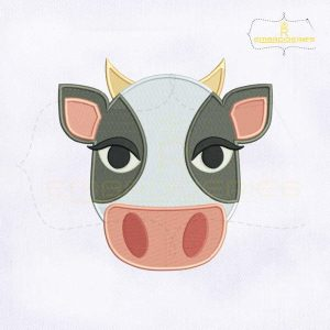 Cow Face Emoji Embroidery Design