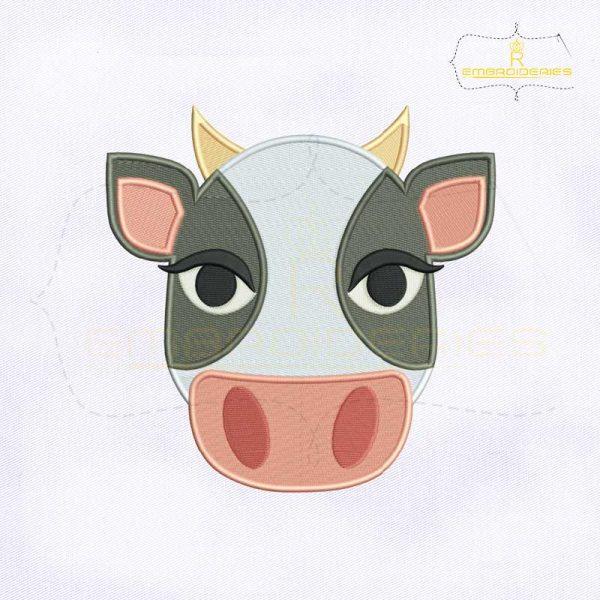 Cow Face Emoji Embroidery Design