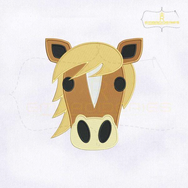 Horse Face Emoji Embroidery Design