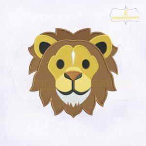 Lion Face Emoji Embroidery Design