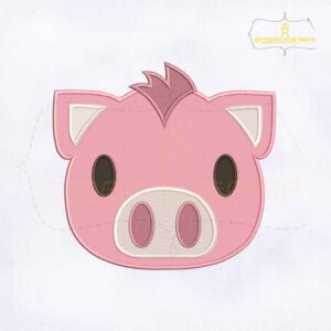 Pink Pig Emoji Embroidery Design