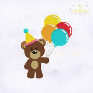 Birthday Bear Holding Balloons Embroidery Design