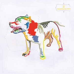 USA Colorful Pitbull Terrier Dog Embroidery Design