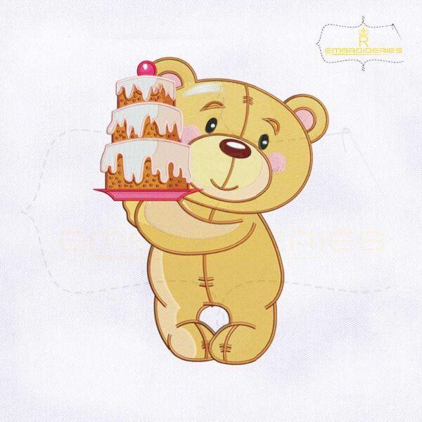 Teddy Bear Birthday Cake Embroidery Design