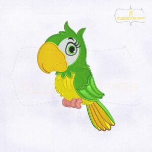 Loro Animado Green Parrot Embroidery Design