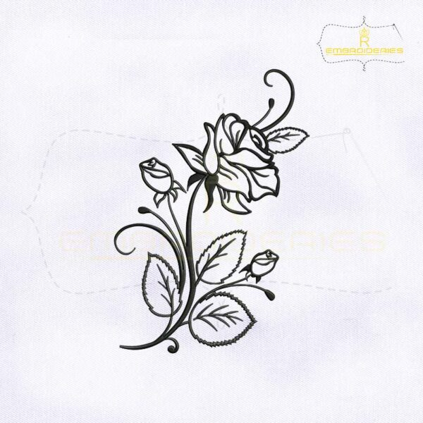 Rose Flower Stencil Embroidery Design