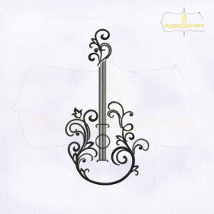 Black Acoustic Guitar Tattoo Embroidery Design