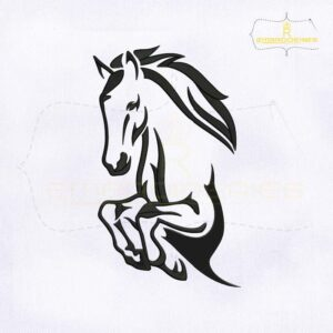 Black Outline Horse Embroidery Design
