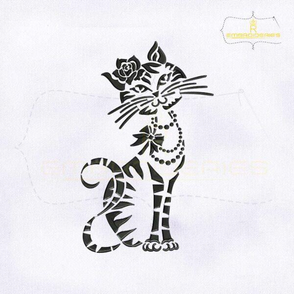 Silhouette Black Cat Embroidery Design