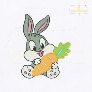 Looney Tunes Bunny Bugs Carrot Embroidery Design