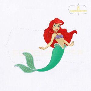 Beautiful Ariel Mermaid Embroidery Design