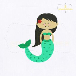 Enchanting Little Mermaid Embroidery Design