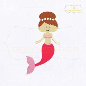 Seductive Baby Mermaid Embroidery Design
