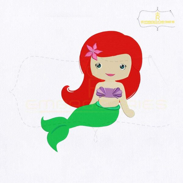 Gorgeous Little Mermaid Embroidery Design