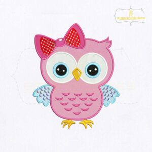 Darling Pink Owl Machine Embroidery Design