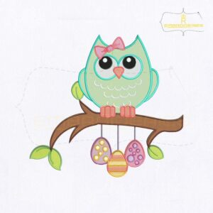 Beautiful Easter Owl Embroidery Design