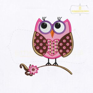 Pretty Graduation Owl Embroidery Design