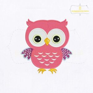 Round Eyes Pink Owl Embroidery Design