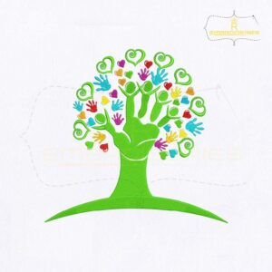 Helping Hands Tree Embroidery Design