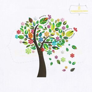 Colorful Spring Tree Embroidery Design