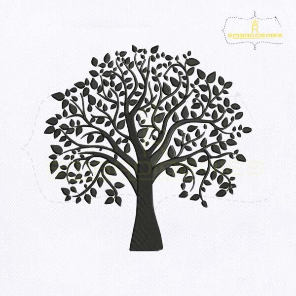 Silhouette Black Tree Embroidery Design