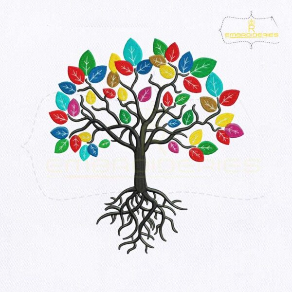 Colorful Tree with Roots Embroidery Design