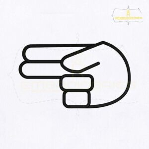 Hand Sign Language H Embroidery Design