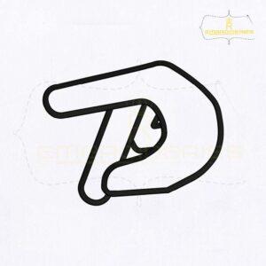 Dumb Sign Language Alphabet P Embroidery Design
