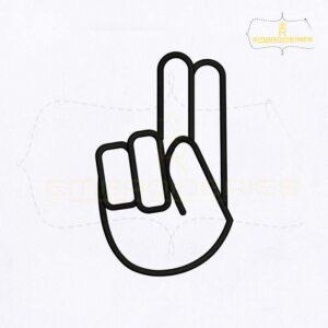 Hand Sign Language Alphabet U Embroidery Design