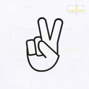 Alphabet Sign Language V Embroidery Design