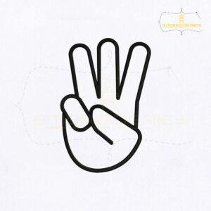 Dumb Sign Alphabet W Embroidery Design