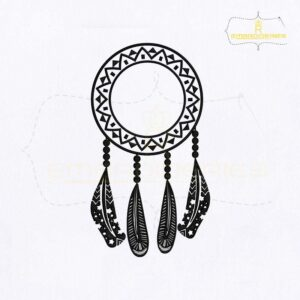 Dream Catcher Dangling Feather Embroidery Design