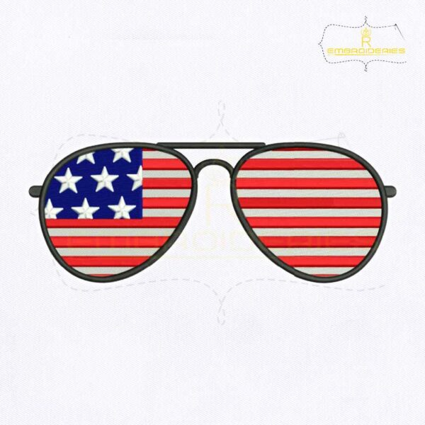 4th of July Sunglasses Embroidery Design