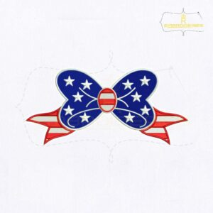 USA Independence Day Bow Embroidery Design