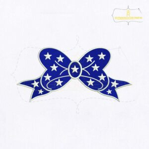 Patriotic Blue Bow Embroidery Design
