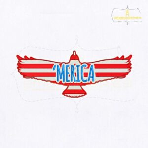 Merica Flag Eagle Embroidery Design