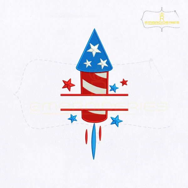 4th Of July Firecracker Monogram Embroidery Design