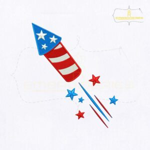 Fourth Of July USA Firecracker Embroidery Design