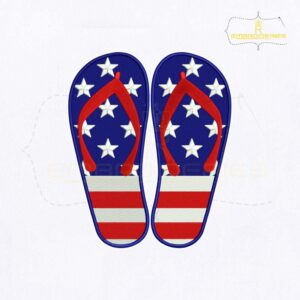 4th of July USA Flip Flop Embroidery Design