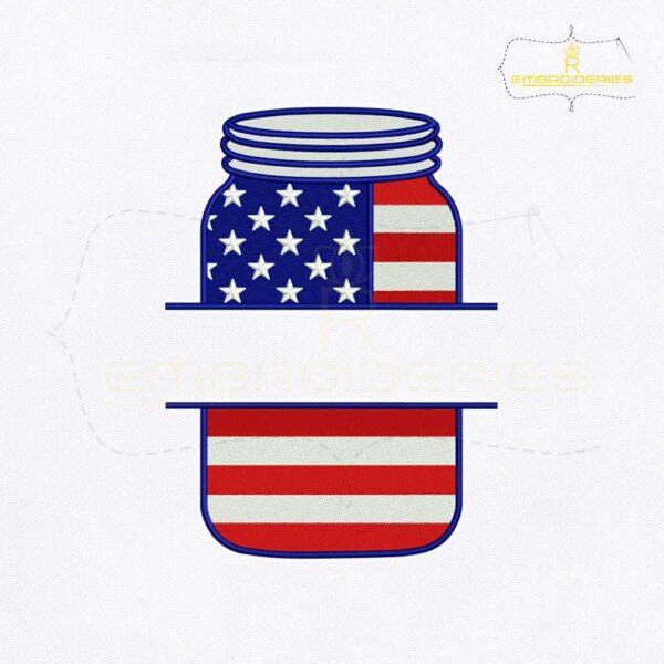4th of July Mason Jar Monogram Embroidery Design