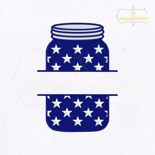 4th Of July Flag Mason Jar Embroidery Design