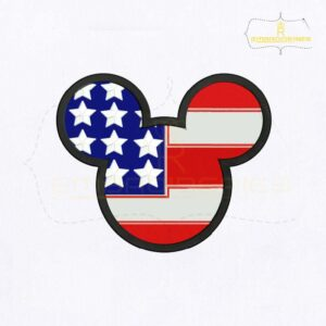 American Flag Mickey Face Embroidery Design