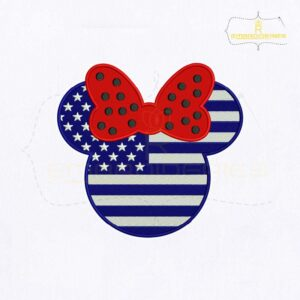 4th Of July USA Minnie Face Embroidery Design