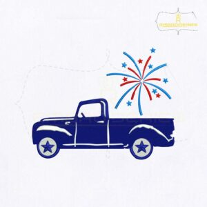Fourth Of July Fireworks Car Embroidery Design