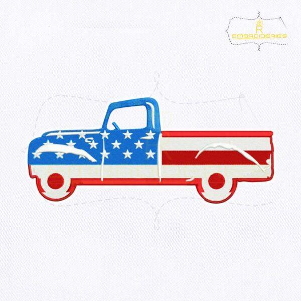 American Flag Car Embroidery Design