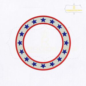 American Circle Monogram Embroidery Design