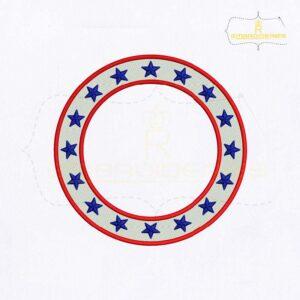 American Circle Monogram Embroidery Design