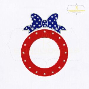 4th Of July Bow Monogram Embroidery Design